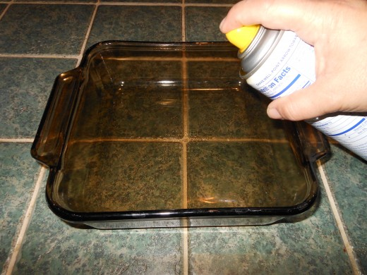 Spray the inside of your baking dish with cooking spray. I used butter flavored cooking spray for this recipe.