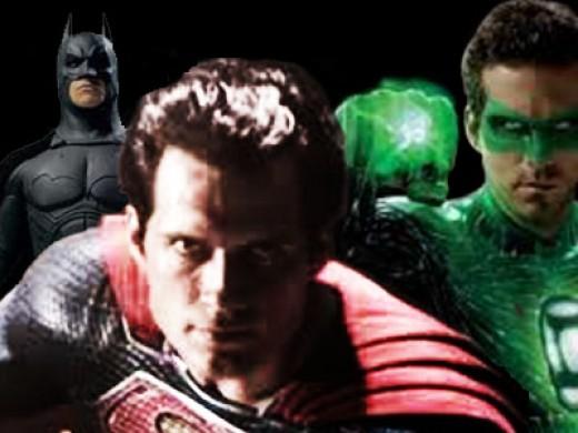 Justice League movie. Christain Bale (Batman), Ryan Reynolds (Green Lantern), Henry Cavill (Superman).
