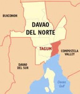 Map of the province of Davao del Norte showing Tagum City in red