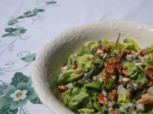 Green Walnut and Roquefort Salad.  Suggested starter for the perfect summer lunch for two.