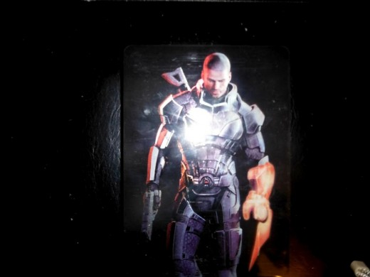 This is the back cover of the metal case that holds the disc in my collector's edition copy of Mass Effect 3