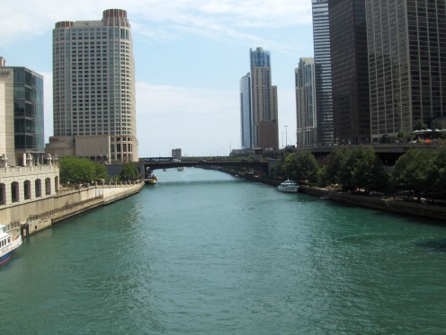 View from the bridge on the Magnificent Mile