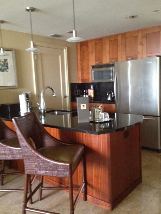 The modern kitchen has all the appliances of a home.