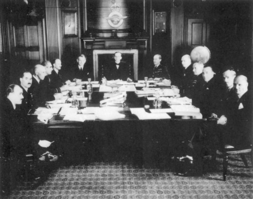 The members of the Air Council, meeting at the Air Ministry during the war (July 1940)