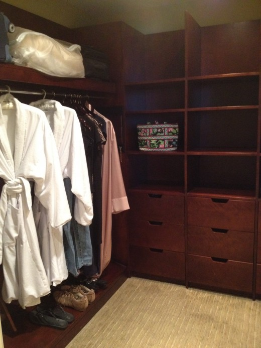 The master closet provided lots of storage and fluffy robes.