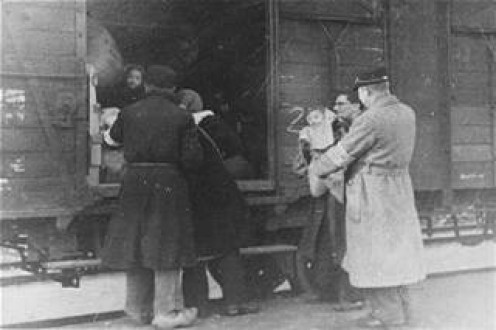 "Civilians Boarding German Trains for ""Resettlement"" to Agricultural Communities in the East   --  Nazis developed a language of  ""euphemisms""  to minimize the horror of what they were doing and keep the Death Camps secret."