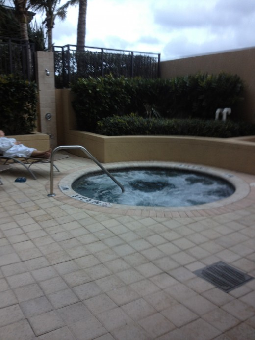 After a massage, patrons enjoy a whirlpool or a quick nap outdoors.