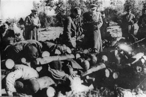 In some location the Nazis disposed of the bodies of their victims (gassing and shooting) by burning them on huge open air  wooden pyres.  The allies arrived before this one was burned.
