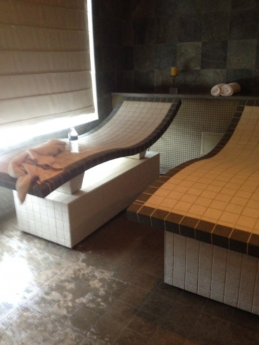 The marble tables in the sauna room are heated and surprisingly comfortable.  They were so relaxing!