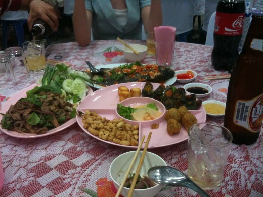 Part of a meal at a traditional Thai party.