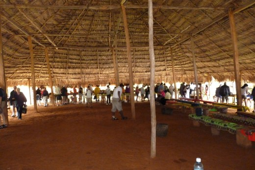 The main assembly hall of the Embera Indians.