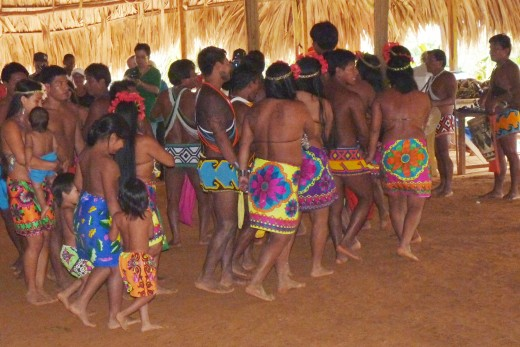 Embera Indians all dancing together.