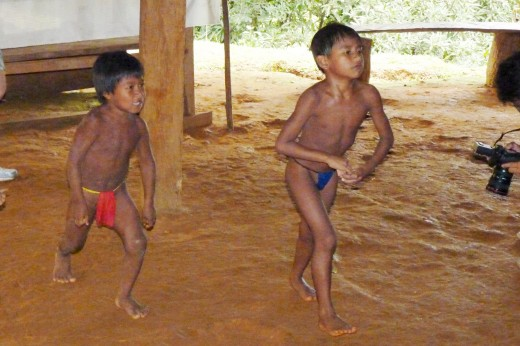 Typical Embera Indian boys playing.