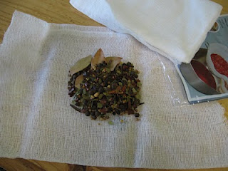 Place spices in cheesecloth or spice bag