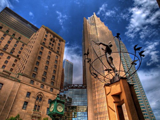 Monument to Multiculturalism by Francesco Pirelli, stands in front of Union Station, Toronto, Canada.  Identical statues are in  Buffalo City, South Africa; Changchun, China; Sarajevo, Bosnia and Sydney, Australia. ESL students  come from everywhere.