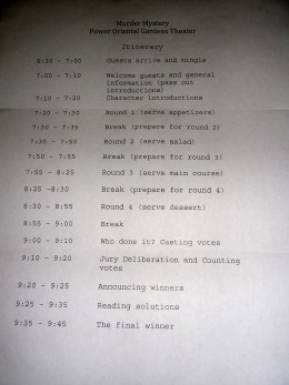This is the itinerary I created and hung up next to the rules and cast list on the night of the party.