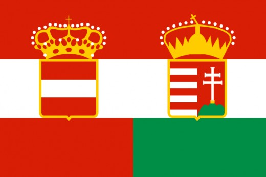 Flag of the Austro-Hungarian Empire (Austria on the left, Hungary on the right: 1867-1918).