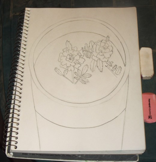 Here I begin to draw the leaves on the marigold.