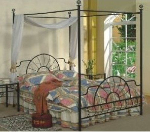 A queen size metal canopy bed in a black finish.