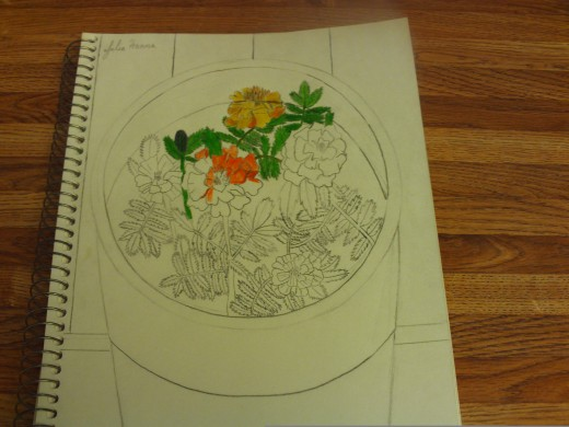 Adding more orange and yellow tones to the marigolds.