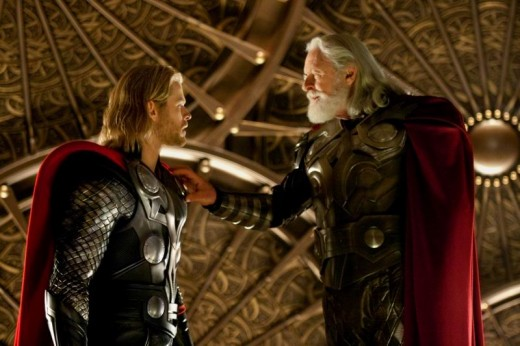 Chris Hemsworth and Anthony Hopkins in Thor (2011)