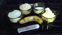 Ingredients for making Banana Oatmeal Cookies