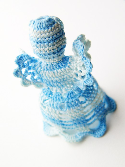 ANGEL. CHRISTMAS DECORATIONS by V.e.r.i.k  Blue-white christmas crochet angel. Christmas decorations on a white background