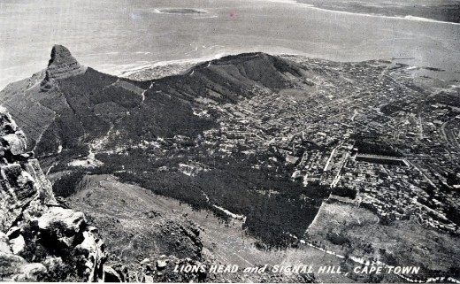 Old postcard of Cape Town from the mountain with Robben Island in the distance