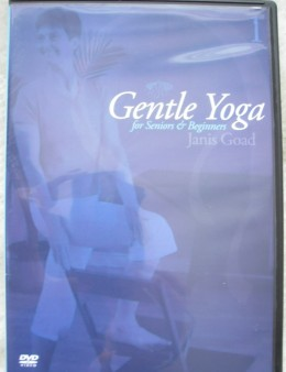 Yoga DVD for seniors' home practice includes gentle postures supported on a chair, as well as seated and lying postures, yogic breathing, and guided relaxation.  (68 minutes)