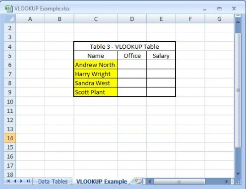 The highlighted cells are a sub-set of the data from Table 1 and Table 2 - these are the only names I am interested in for this table - I don't have to list every name.