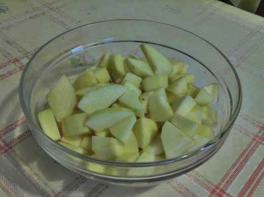 Apples sliced and coated with brown sugar