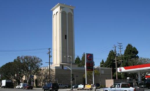 A hidden oil well in LA (tall building)