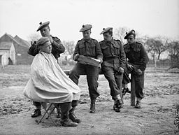 The Scots Guards prepare for war- with a hair cut