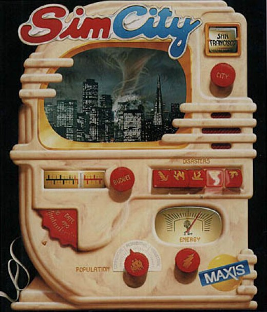 Cover art for an early version of the computer game, SimCity.