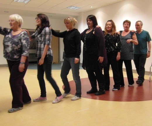 Some of the cast of Devilish Practices in rehearsal