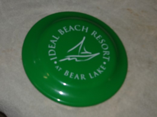 Many resorts will have frisbees with their names on them.