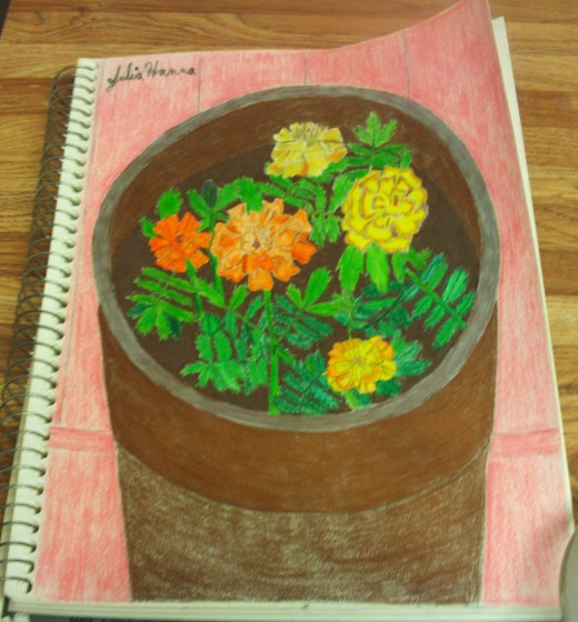 A drawing of marigolds based on the one I planted in a container in my patio garden.