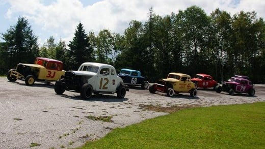 After being restored in 1996 for its 50th anniversary, restored cars from the era take a parade lap.