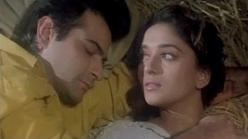 Sanjay Kapoor and Madhuri Dixit in Raja.