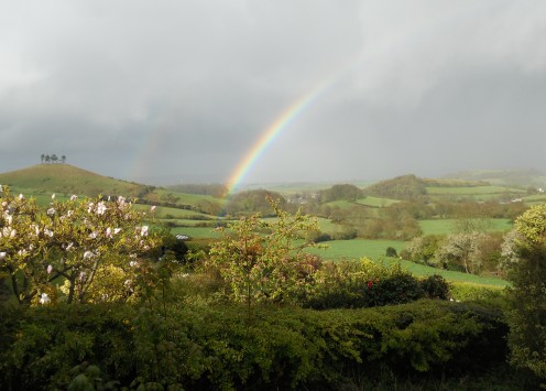 Rainbow at Colmer's Hill. The hill with the trees on top is an iconic landmark that overlooks Bridport.