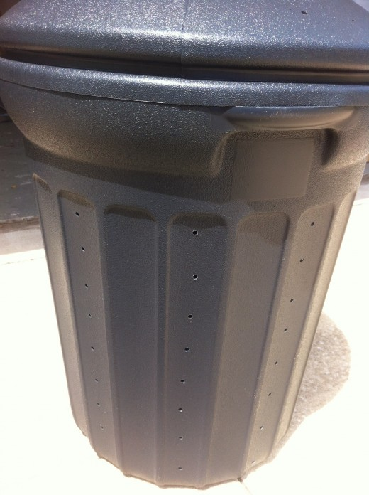 Side of Composter With Holes Drilled
