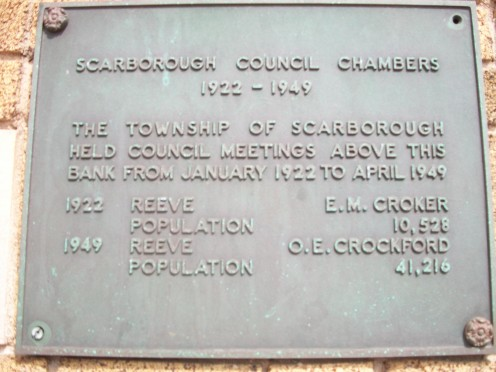 Historical plaque, former Scarborough Council Chambers