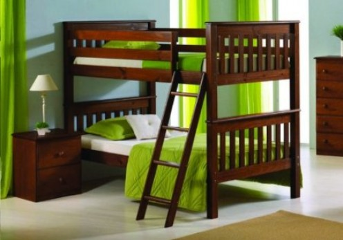 A solid wood twin size bunk bed in an espresso finish.