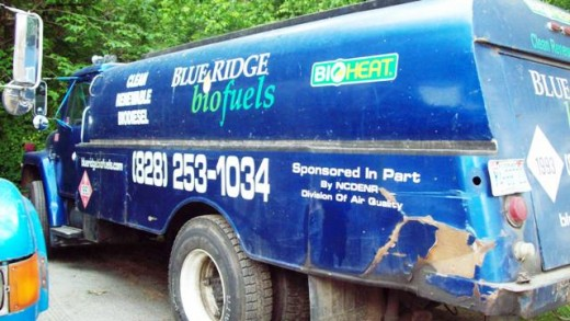 Biodiesel is clean-burning.  Can you guess whether these trucks use petroleum-based diesel or biodiesel?