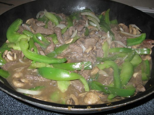 Serve pepper steak with mushrooms over a bed of steamed rice.