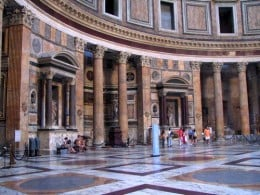 This particular photograph is expressive of the intricacy of the Pantheon of Rome's interior.