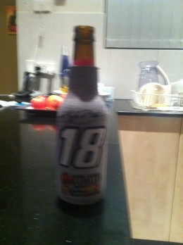 The only way to drink Bud - in a NASCAR stubbie holder!