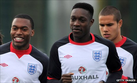 (l-r) Sturridge, Welbeck and Jack Rodwell.