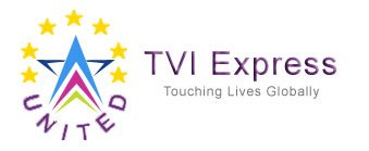 "United TVI Express Logo, same tagline ""touching lives globally"""