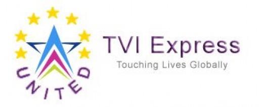 "United TVI Express Logo, same tagline ""touching lives globally"""